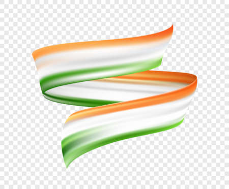Ilustración de Vector illustration: Abstract brush stroke or ribbon with colors of Indian Flag. Happy Independence Day of India - Imagen libre de derechos