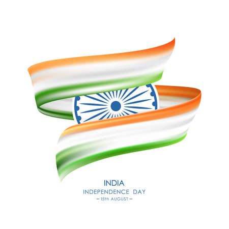 Ilustración de Vector illustration: Greeting card with Abstract brush stroke or ribbon with colors of Indian Flag. Happy Independence Day of India - Imagen libre de derechos