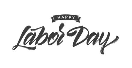 Illustration pour Vector illustration: Handwritten brush type lettering of Happy Labor Day on white background - image libre de droit