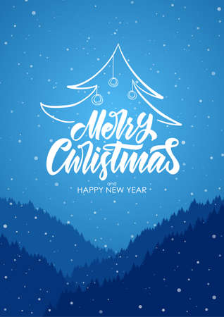 Photo for Vector illustration: Merry Christmas and Happy New Year. Handwritten type lettering on blue mountais forest background - Royalty Free Image