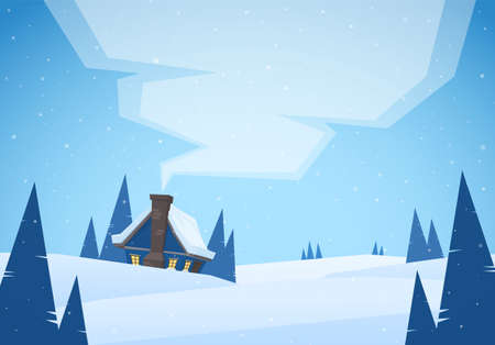 Ilustración de Vector illustration: Cartoon Winter christmas landscape with house and smoke from chimney. - Imagen libre de derechos