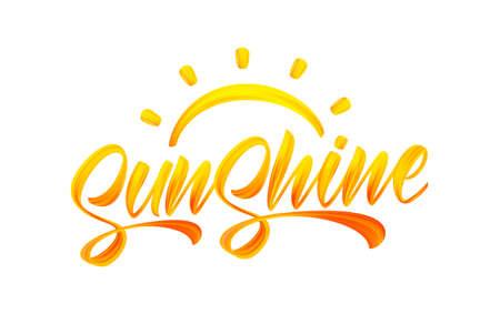 Ilustración de Handwritten brush stroke yellow acrylic paint lettering of Sunshine with Sun. Summer modern calligraphy - Imagen libre de derechos