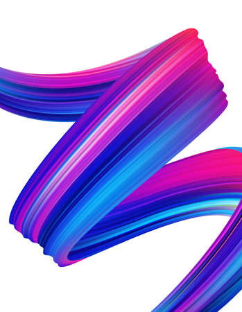 Ilustración de Vector illustration: Modern colorful flow poster background. Abstract wavy twisted liquid shape of ribbon. Paint brush stroke. - Imagen libre de derechos