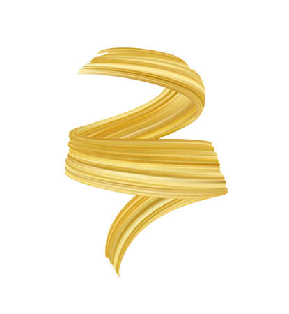 Ilustración de Vector illustration: 3d realistic golden brush stroke oil or acrylic paint. Wave Liquid shape. Trendy design - Imagen libre de derechos