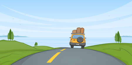 Illustration pour Vector illustration: Cartoon Summer landscape with travel car rides on the road and sea on horizon. - image libre de droit
