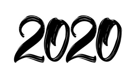 Illustration pour Hand drawn brush lettering numbers of 2020. Happy New Year. Chines calligraphy - image libre de droit