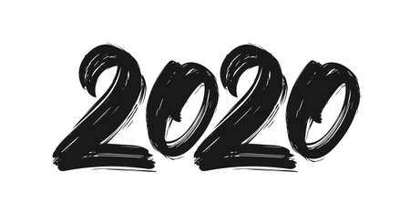 Illustration pour Handwritten lettering of 2020. Happy New Year. Chines calligraphy - image libre de droit