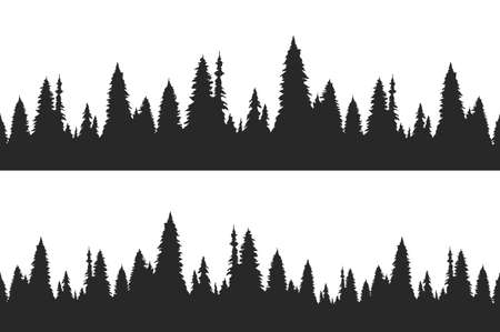 Ilustración de Set of two seamless hand drawn pine forest. Christmas banner template. - Imagen libre de derechos