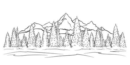 Illustration pour Vector illustration: Hand drawn Mountains sketch landscape with peaks and pine forest. Line design - image libre de droit