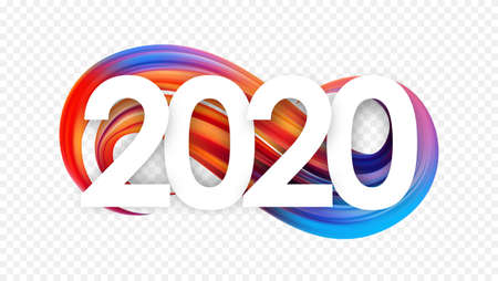 Illustration pour Vector illustration: Happy New Year. Number of 2020 with colorful abstract twisted paint stroke shape. Trendy design - image libre de droit
