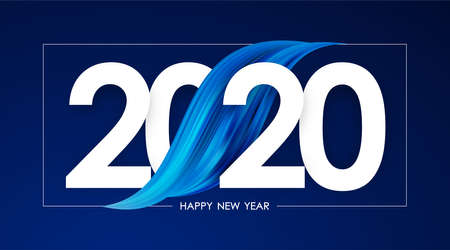 Illustration for Vector illustration: Happy New Year 2020. Greeting card with blue abstract acrylic paint stroke shape. Trendy design - Royalty Free Image