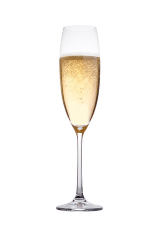 Photo for Champagne glass with bubbles isolated on white background - Royalty Free Image