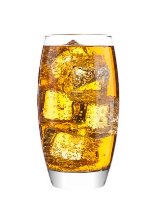 Foto de Glass of energy carbonated soda drink with ice on white background - Imagen libre de derechos