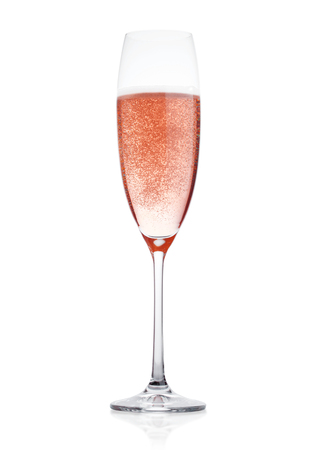 Photo for Rose pink champagne glass with bubbles isolated on white background - Royalty Free Image