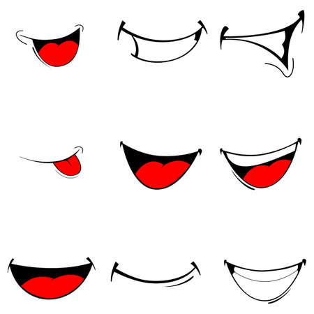 Illustrazione per Vector illustration of a set smiling cartoon - happy mouth on white - Immagini Royalty Free