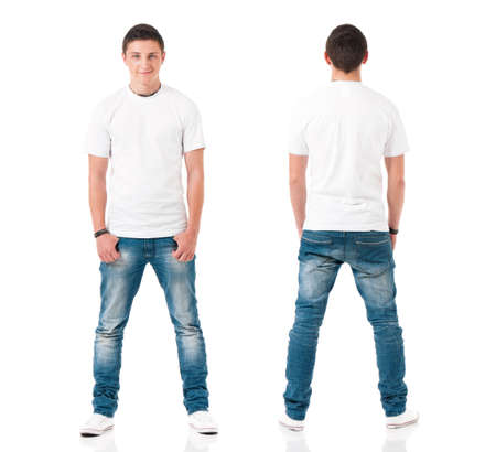 Photo pour White t-shirt on a young man isolated on white background, front and back. Happy teen boy with polo shirt looking at camera. - image libre de droit