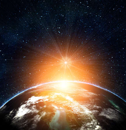Photo for blue earth in space with rising sun - Royalty Free Image