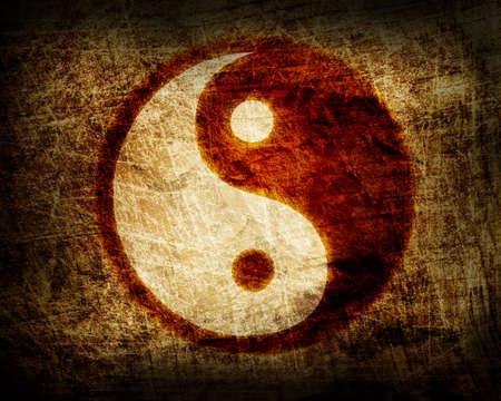 Photo for yin and yang glowing symbol  - Royalty Free Image