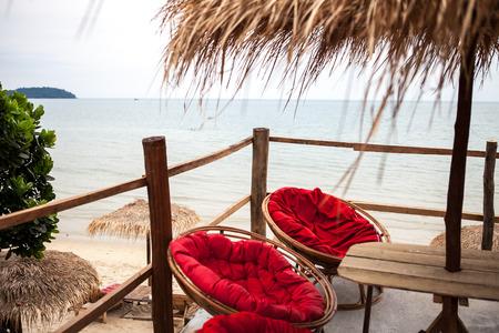 Foto de Ocean view from cafe terrace in Sihanoukville, Cambodia - Imagen libre de derechos