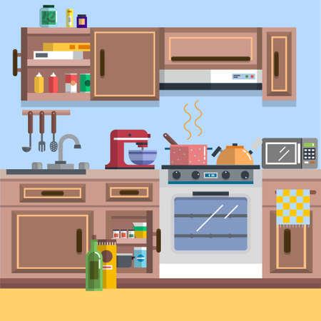 Illustration pour Concept of Kitchen interior vector for your ideas - image libre de droit
