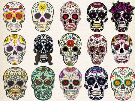 Illustration for Trendy sugar skulls set with skulls in different styles - Royalty Free Image