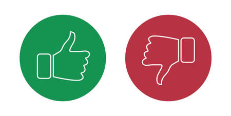 Illustration pour Like and dislike icons set. Thumbs up and thumbs down. Vector illustration - image libre de droit