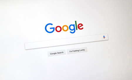 Photo pour MONTREAL, CANADA - OCTOBER 2, 2017: Google USA search page. Google, is a web search engine developed by Google. - image libre de droit