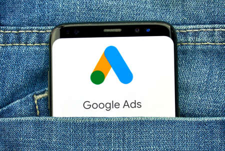 Photo pour MONTREAL, CANADA - SEPTEMBER 30, 2018: Google Ads new logo and app on a Samsung s8 screen. Google Ads, formerly known as Adwords, is an online advertising platform developed by Google - image libre de droit