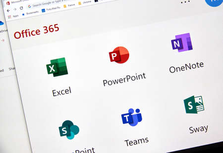 Foto de MONTREAL, CANADA - FEBRUARY 28, 2019: Microsofrt Office 365 new icons on a PC screen. Office 365 is the brand name Microsoft uses for a group of subscriptions that provide productivity software - Imagen libre de derechos