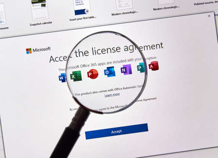 Photo for MONTREAL, CANADA - JULY 13, 2019: MIcrosoft Office 365 License Agreement on a PC screen. Office 365 are subscription services offered by Microsoft as part of the Microsoft Office product suite - Royalty Free Image