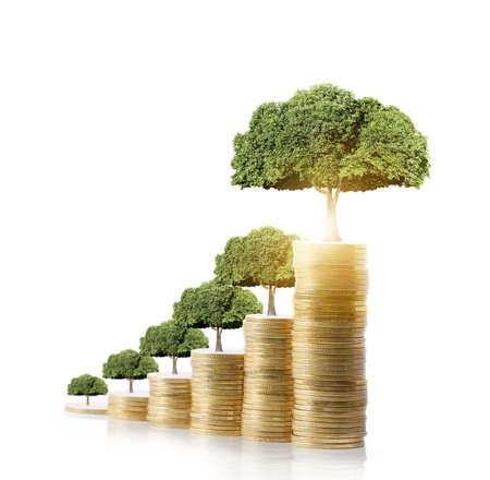 Foto de Concept of money tree growing from money - Imagen libre de derechos