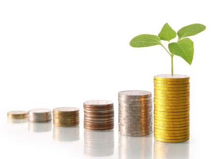 Foto de Investment concept, Coins graph stock market - Imagen libre de derechos