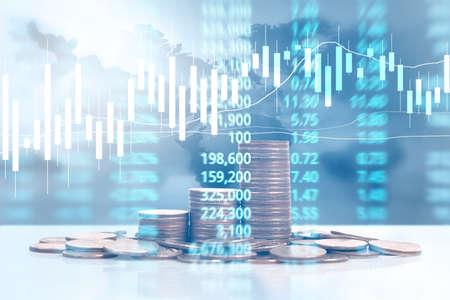 Foto de graph coins stock finance and business concept - Imagen libre de derechos