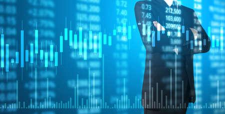 Foto de Investment concept,hand with stock financial chart symbols coming from hand - Imagen libre de derechos