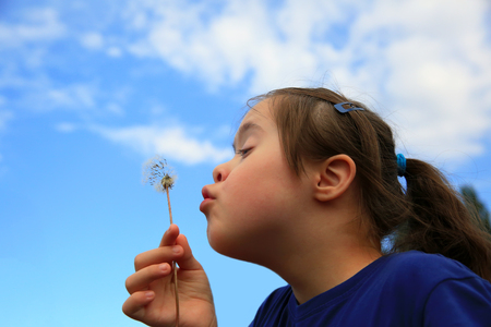 Photo for Little girl blowing dandelion - Royalty Free Image