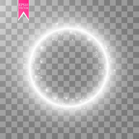 Illustration pour Vector light ring. Round shiny frame with lights dust trail particles isolated on transparent background. - image libre de droit