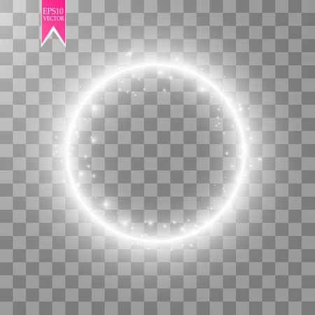 Ilustración de Vector light ring. Round shiny frame with lights dust trail particles isolated on transparent background. - Imagen libre de derechos