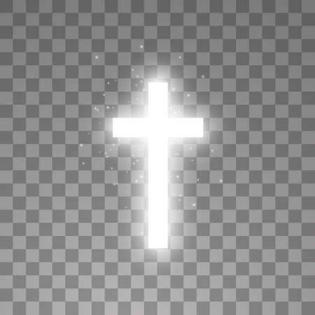 Illustration pour Shining white cross on transparent background. Glowing saint cross. Vector illustration - image libre de droit