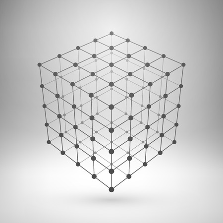 Illustration pour Wireframe mesh polygonal element. Cube with connected lines and dots. - image libre de droit