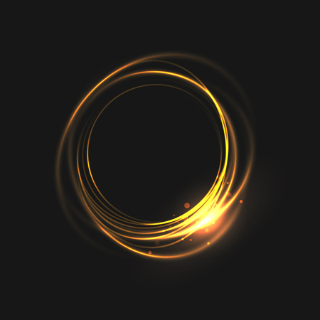 Illustration pour The rings of light with sparkling lines. Bokeh particles on the swirling circles. Motion element on black background glowing light. Shiny gold color dodge effect. - image libre de droit