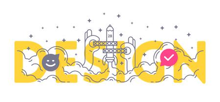 Foto de Design word concept. Business lettering typography for web design, design development, art research and education course. Flat outline thin line icon vector illustration. - Imagen libre de derechos