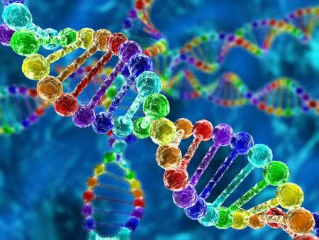 Foto de Rainbow DNA (deoxyribonucleic acid) with defocus on background - Imagen libre de derechos