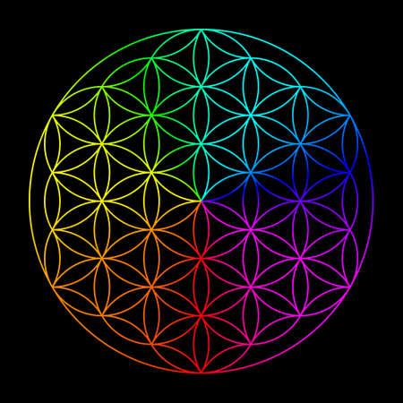 Foto de Rainbow flower of life - symbol of sacred geometry - Imagen libre de derechos