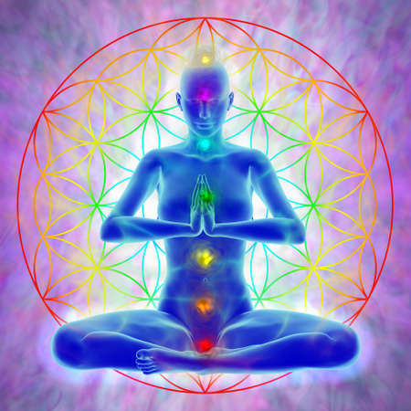 Foto de Woman in meditation, symbol flower of life - Imagen libre de derechos