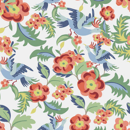 Floral seamless pattern endless texture with flowers and birds.  background for textile des mural