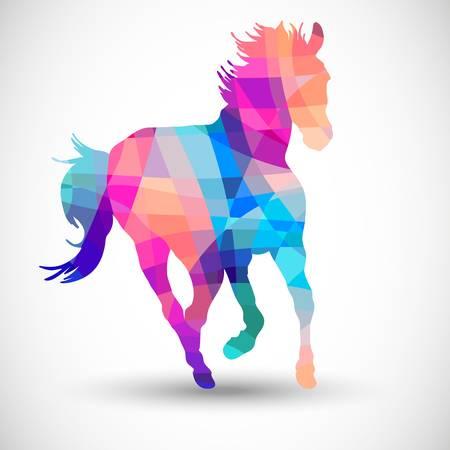 Illustration pour Abstract horse of geometric shapes - image libre de droit