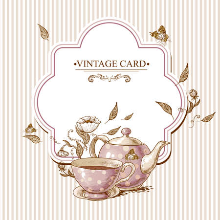 Photo for Invitation Vintage Card with a Cup of Tea or Coffee, Pot, Flowers and Butterfly. - Royalty Free Image
