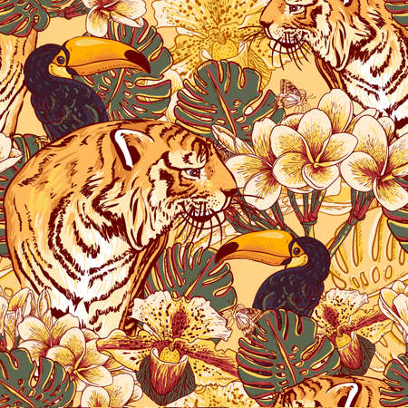 Illustration for Tropical seamless background with exotic flowers and Toucan and Tiger - Royalty Free Image