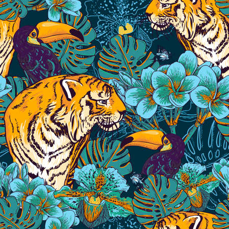 Illustration pour Tropical seamless background with exotic flowers and Toucan and Tiger - image libre de droit