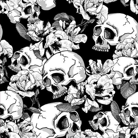 Illustration pour Skull and Flowers Seamless Background Day of The Dead, Vector Vintage Card - image libre de droit